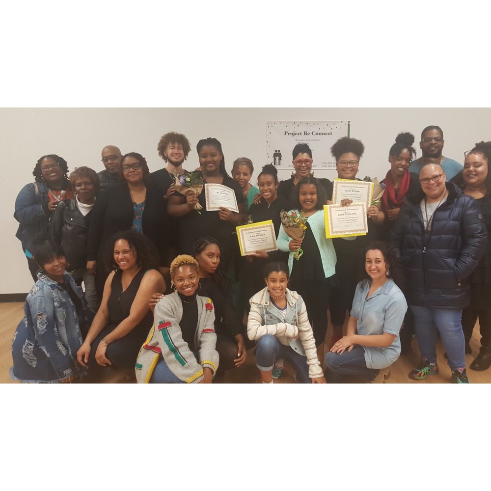 Our First Graduating Class of Color Connect, their families, the facilitators and the Project Re-Connect Staff (Alex not pictured)