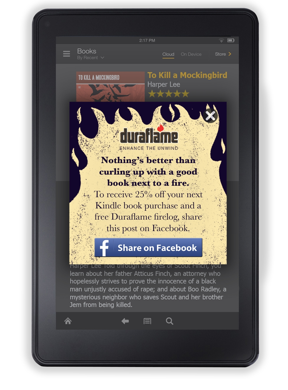 Social Promotion with Amazon Kindle Leading to Facebook Post
