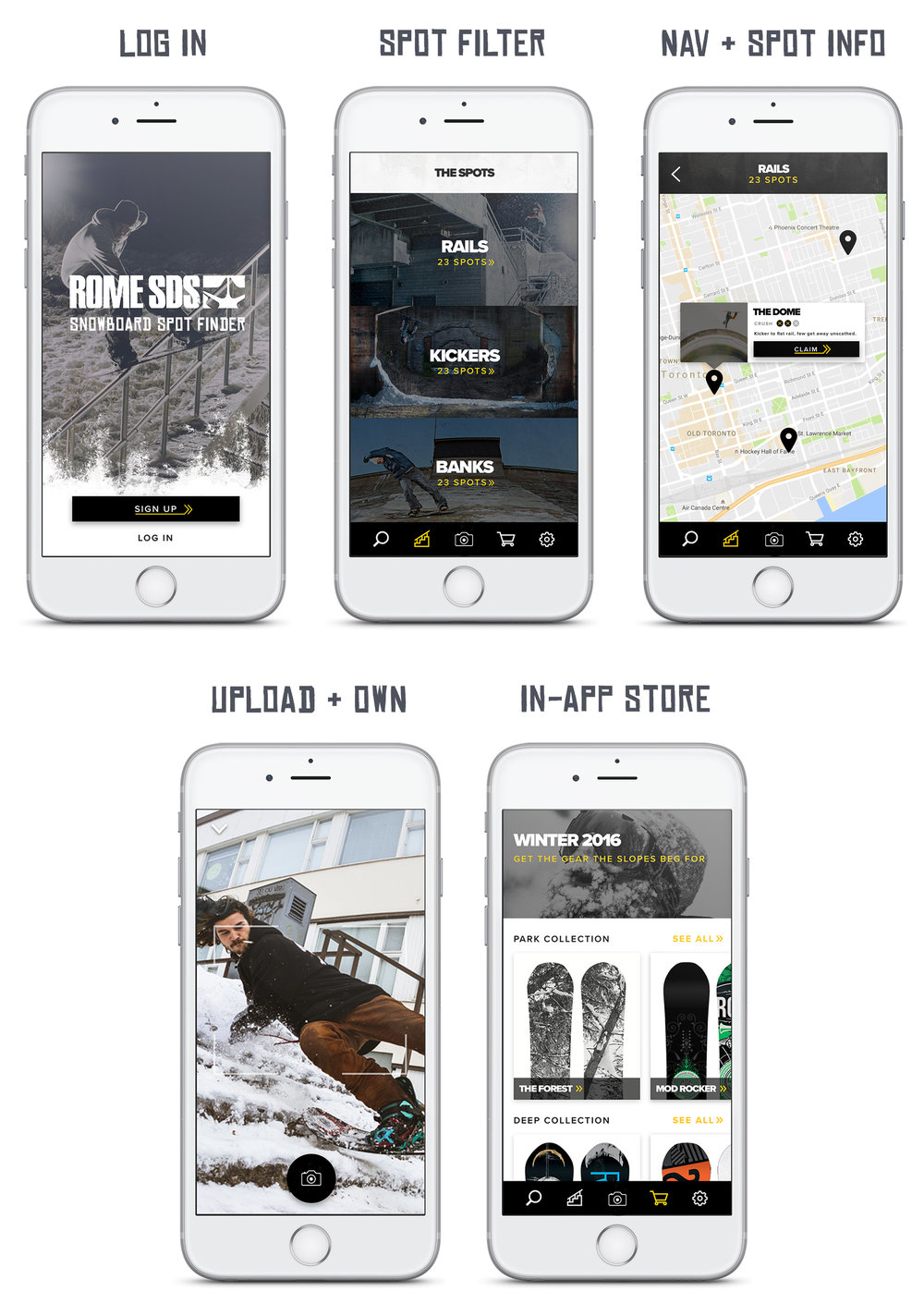 """Snowboarders use the Spot Finder App to locate street snowboard spots, rate their difficulty, upload photos and videos to """"own"""" the spot, and purchase Rome products from their phone."""