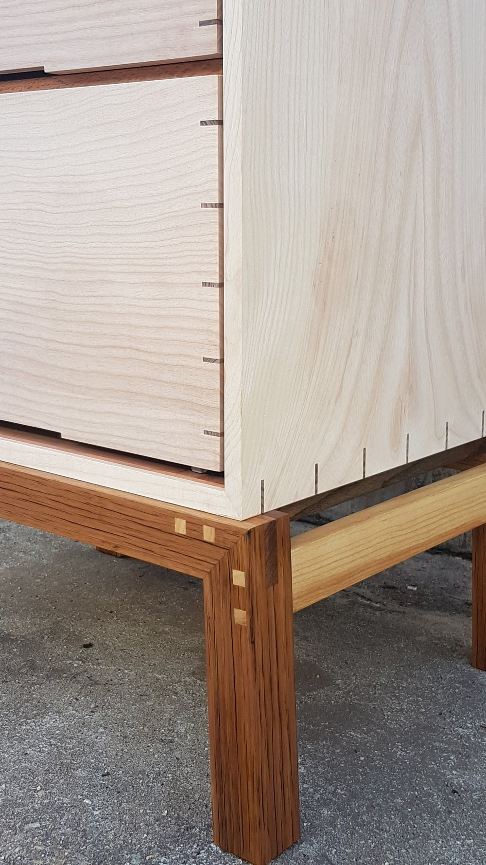 JOINERY DETAIL of CLARET ASH TEA CABINET