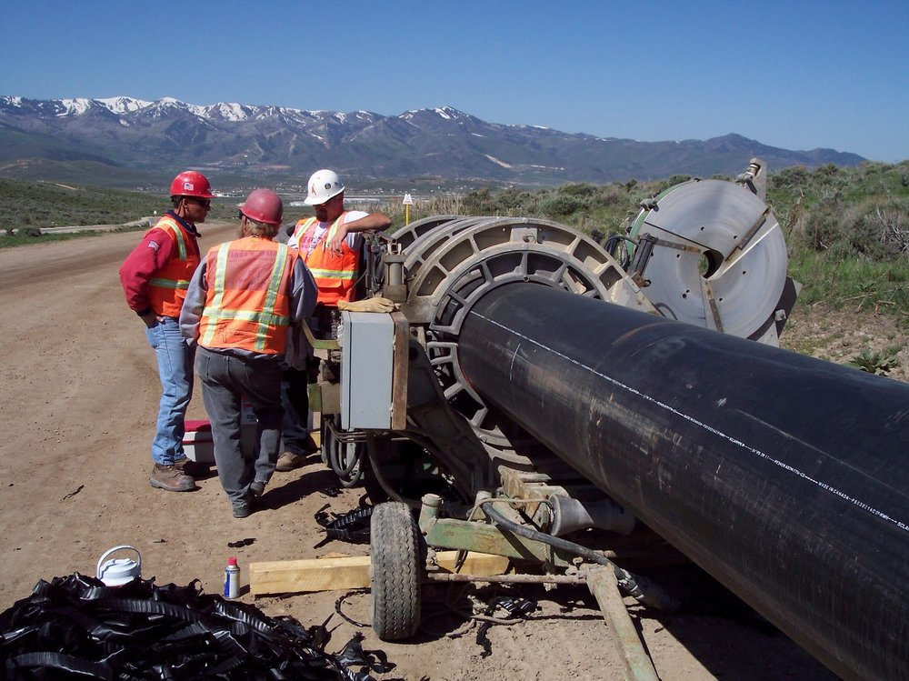Fusing the large diameter water transmission line which feeds water from Signal Hill in Promontory to Park City.