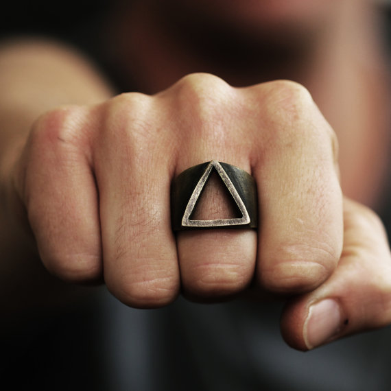 Mens Ring Gold Triangle Rings Oxidized Brass Persoanlized Jewelry - $69.00