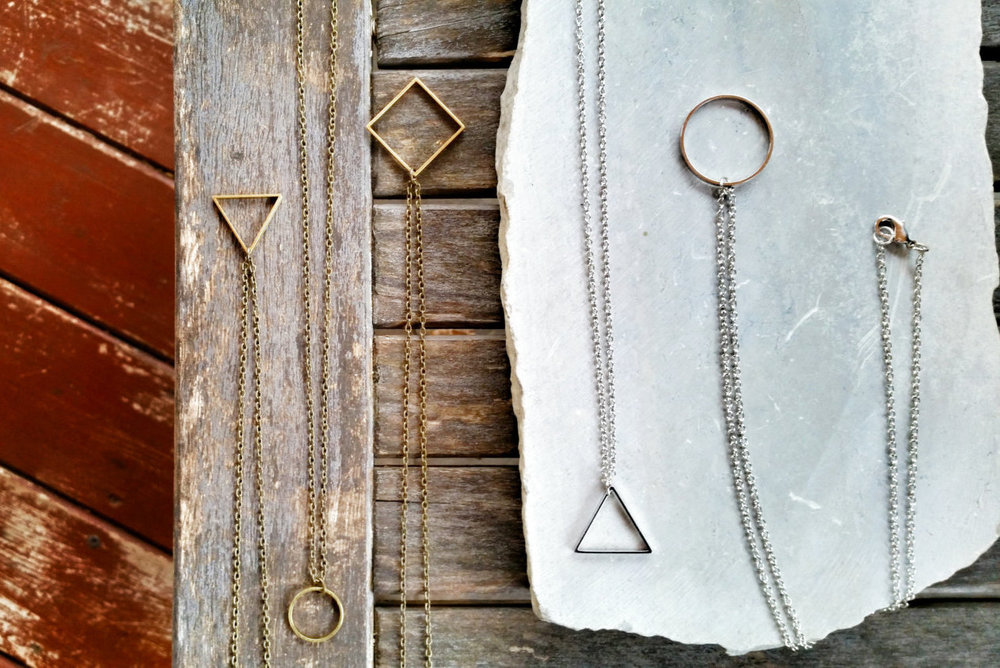 Vintage Brass Geometric Square Pendant Necklace - Geometric Jewelry by Idle King $22.00