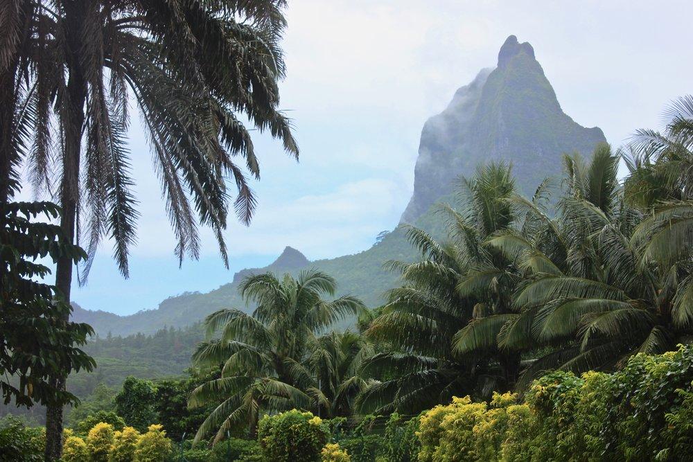 Volcanic mountain ridges of Moorea.