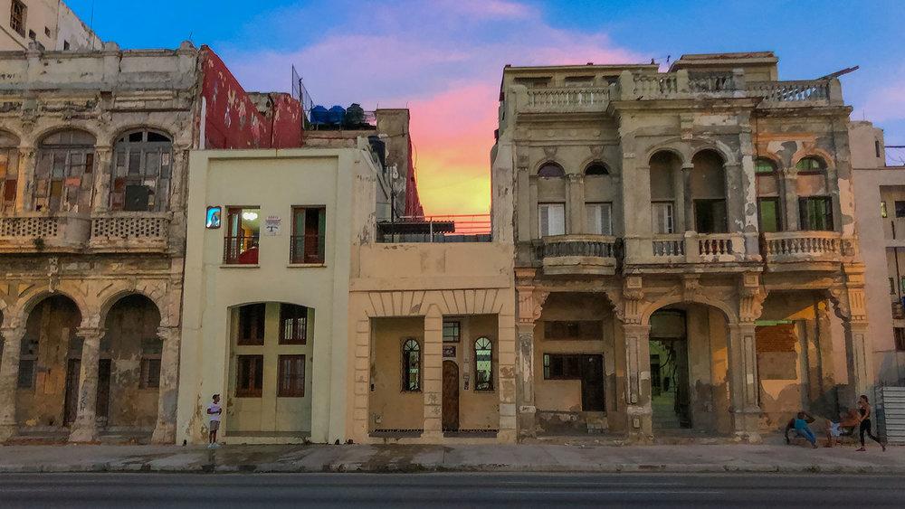 Havana Street at Sunset.