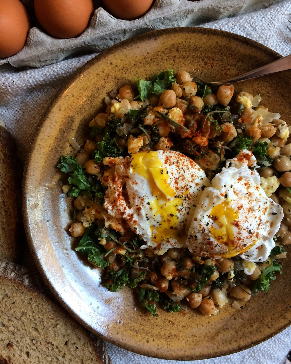 braised chickpeas with kale, capers and feta