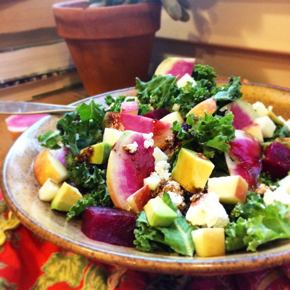 watermelon radish, roasted beet and goat cheese salad