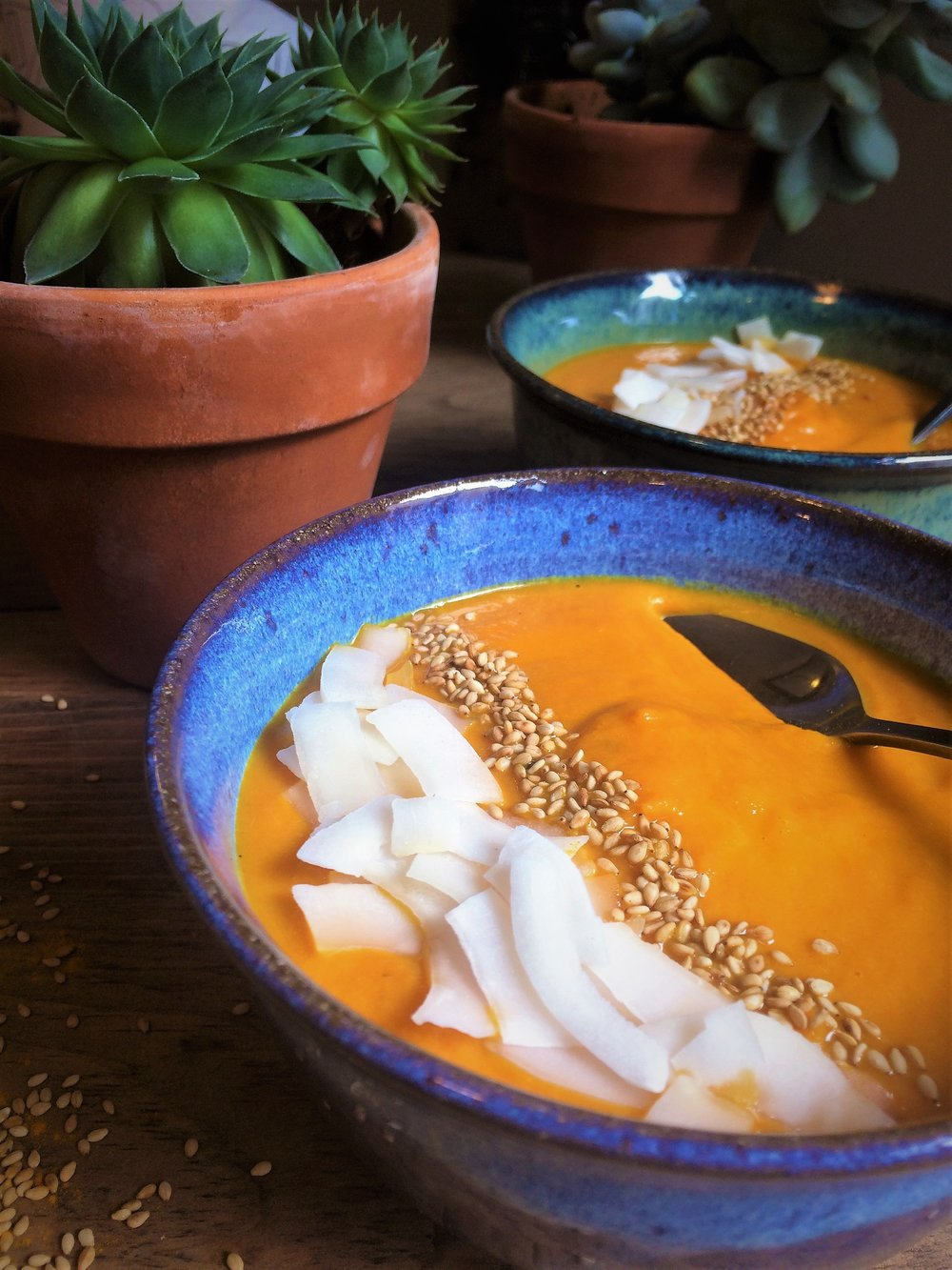 coconut carrot soup with ginger and turmeric || planting my roots