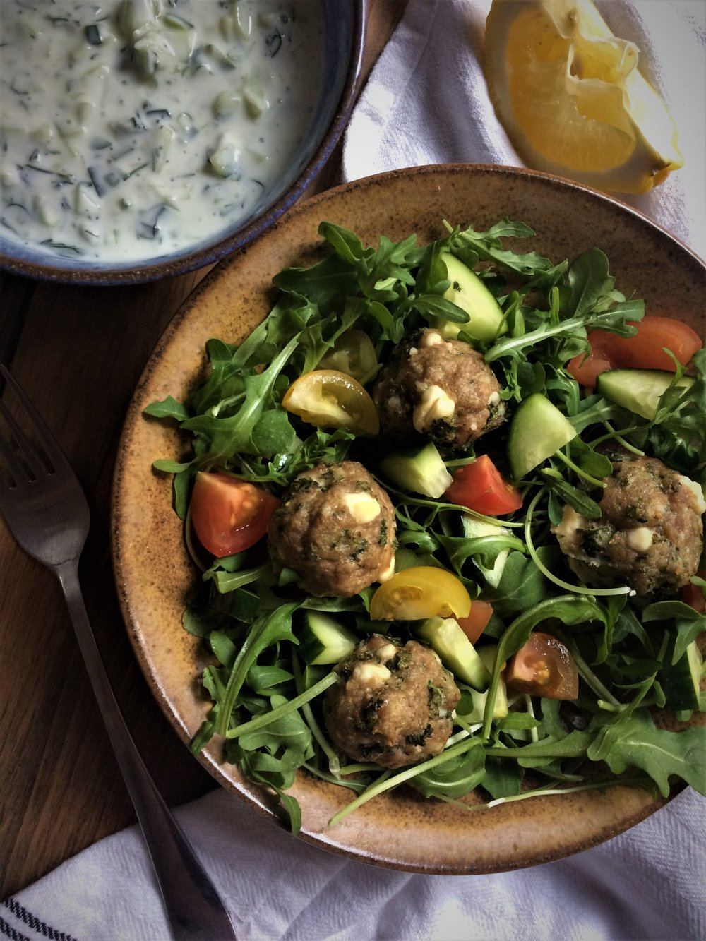 tzatziki salad with turkey, kale and feta meatballs || planting my roots