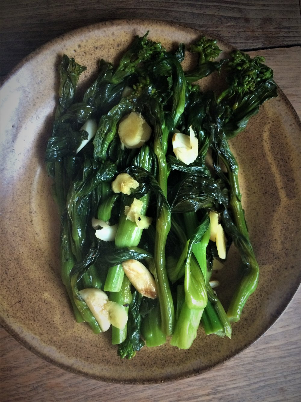 gai lan (chinese broccoli with garlic, ginger and soy sauce, via steamy kitchen) || planting my roots