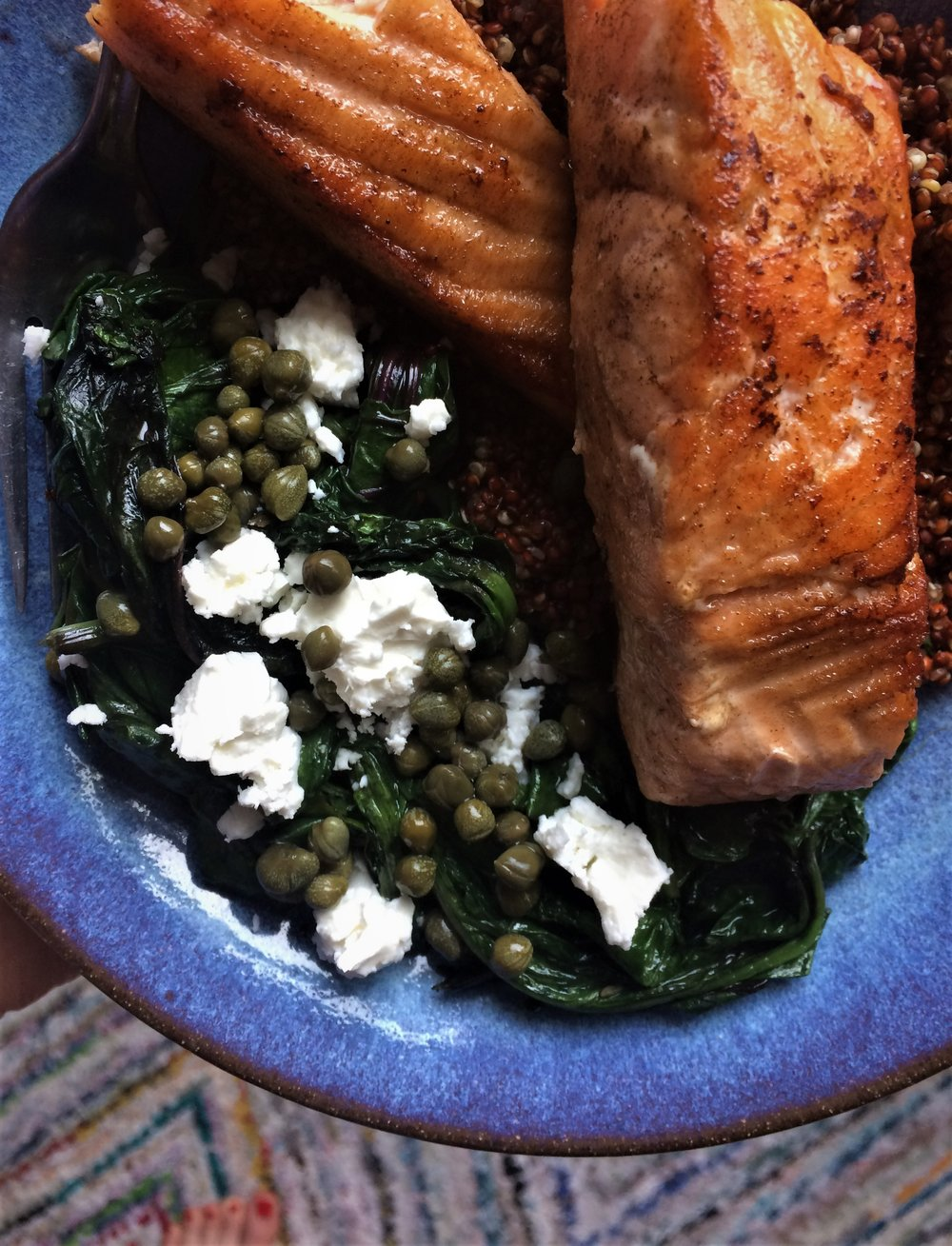 beet greens with capers and feta || planting my roots