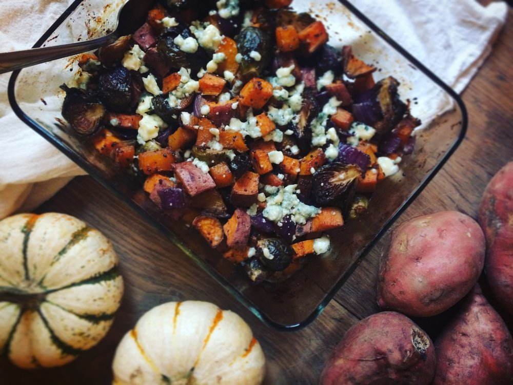 roasted root vegetables with blue cheese and maple balsamic vinaigrette