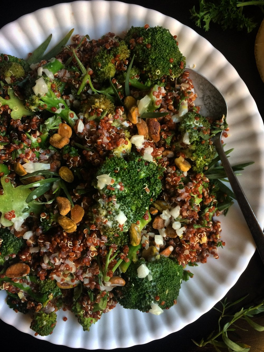 Broccoli Quinoa Salad with Buttermilk Dressing || Planting My Roots