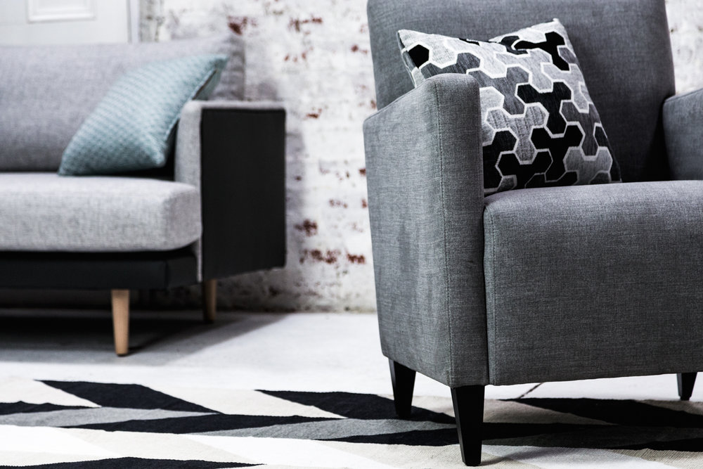 Carlisia Black scatter on Obsession Warm Haze accent chair