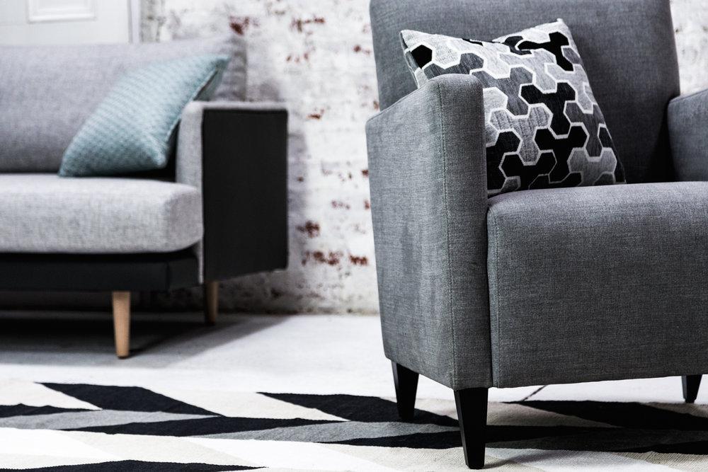 Sofa: Obsession Warm Haze. Scatter: Carlisia Black.