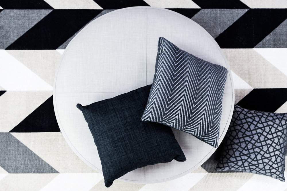 Ottoman: Lunar Soft Grey. Scatters (left to right): Lunar Graphite, Direction Shale Grey, Dazzle Shale Grey