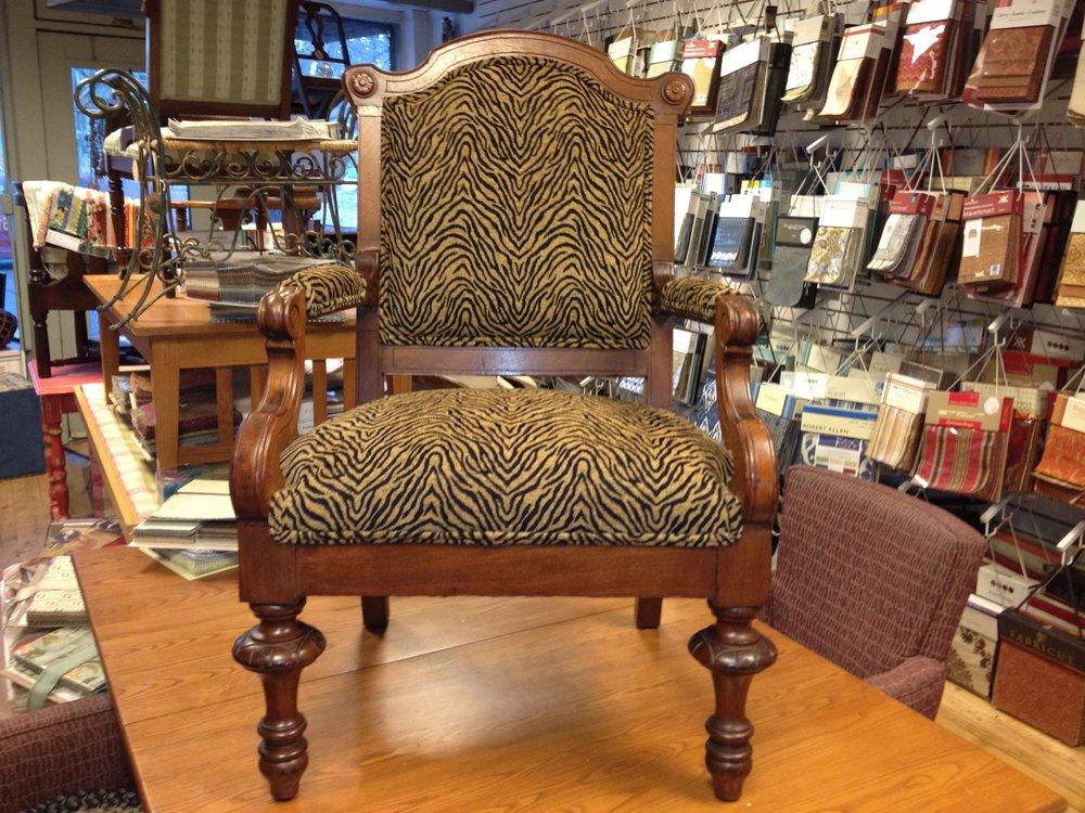 Antique Chair In Leopard Print