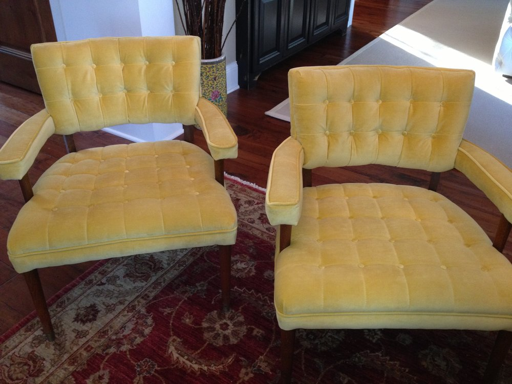 Button Tufted Leather Chairs