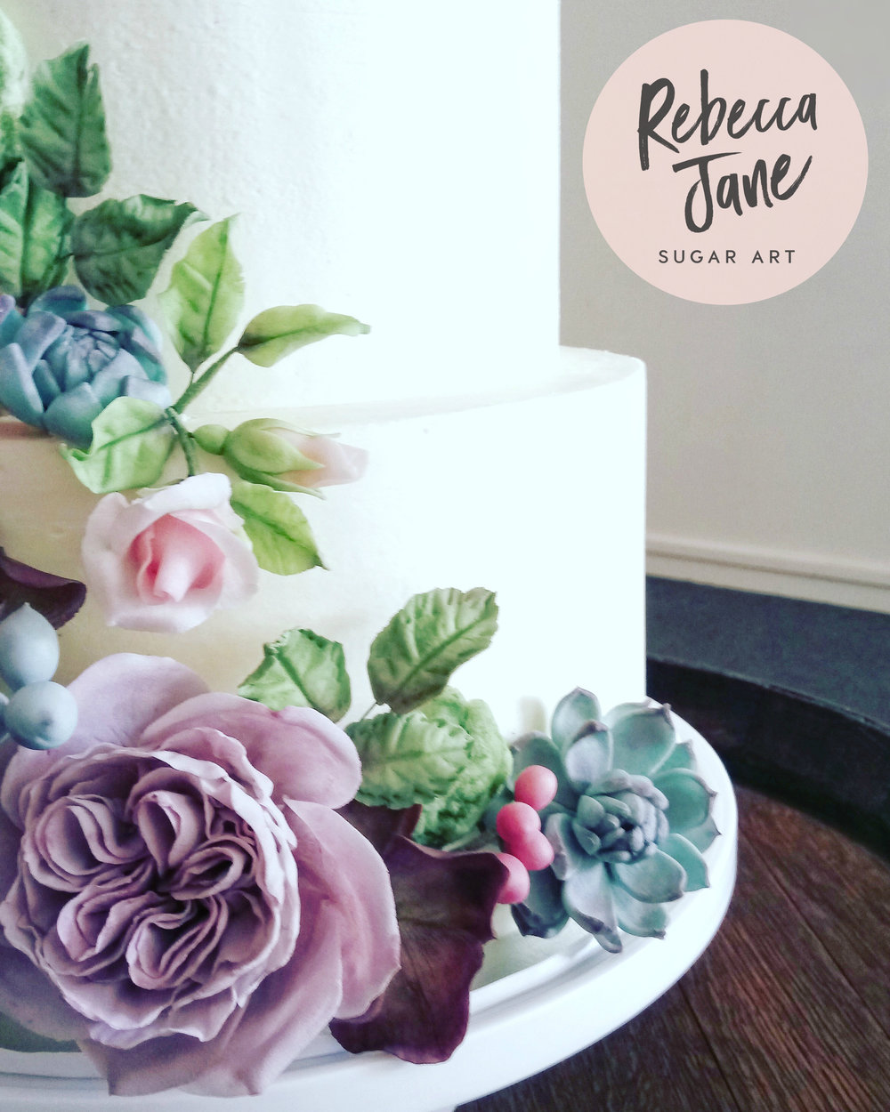 Rebecca Jane Sugar Art - Sugar flower garden cascade buttercream wedding cake