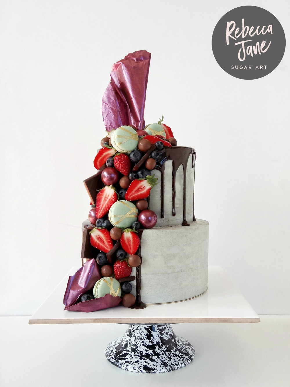 Rebecca Jane Sugar Art - Concrete buttercream berry chocolate drip cake
