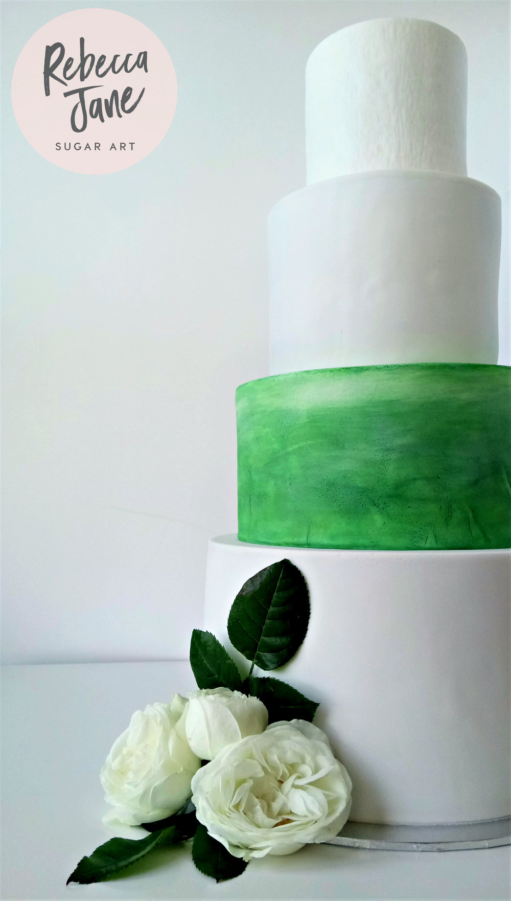 Rebecca Jane Sugar Art - White and green watercolour wedding cake