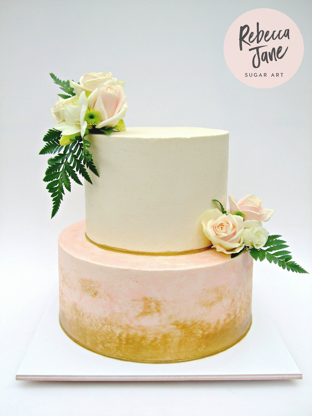 Rebecca Jane Sugar Art - floral, white and blush buttercream wedding cake