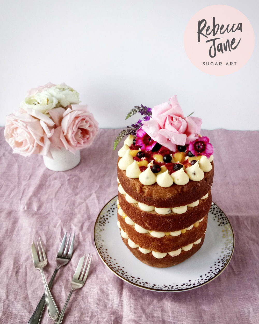 Rebecca Jane Sugar Art - Raspberry, passionfruit and white chocolate naked cake