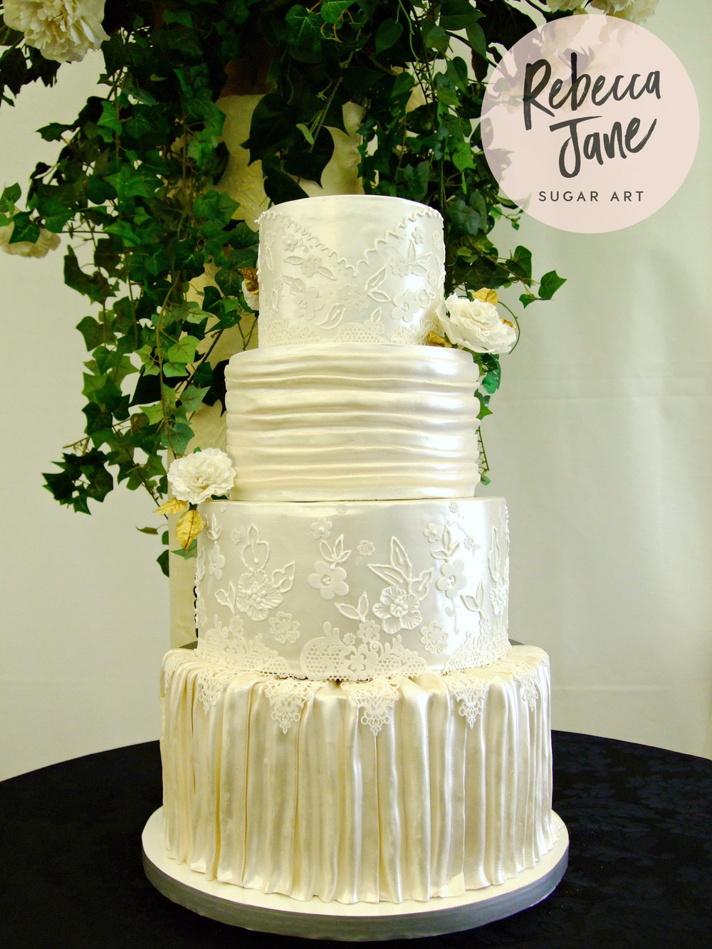 Rebecca Jane Sugar Art - two sided bride and groom wedding cake