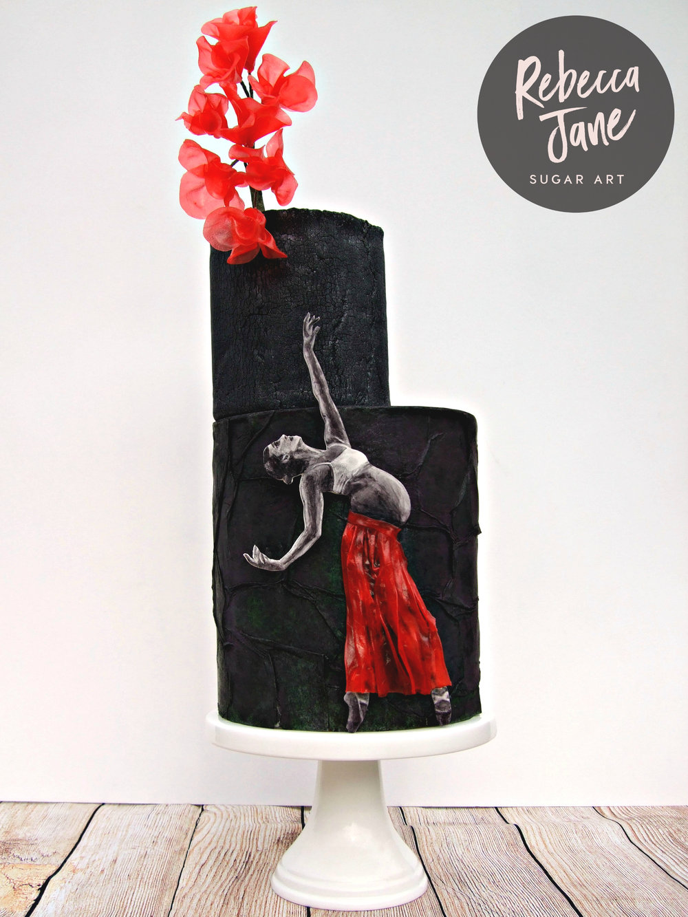 Rebecca Jane Sugar Art - Team Red collaboration black crackle texture rice paper flowers with handpainted pregnant ballerina