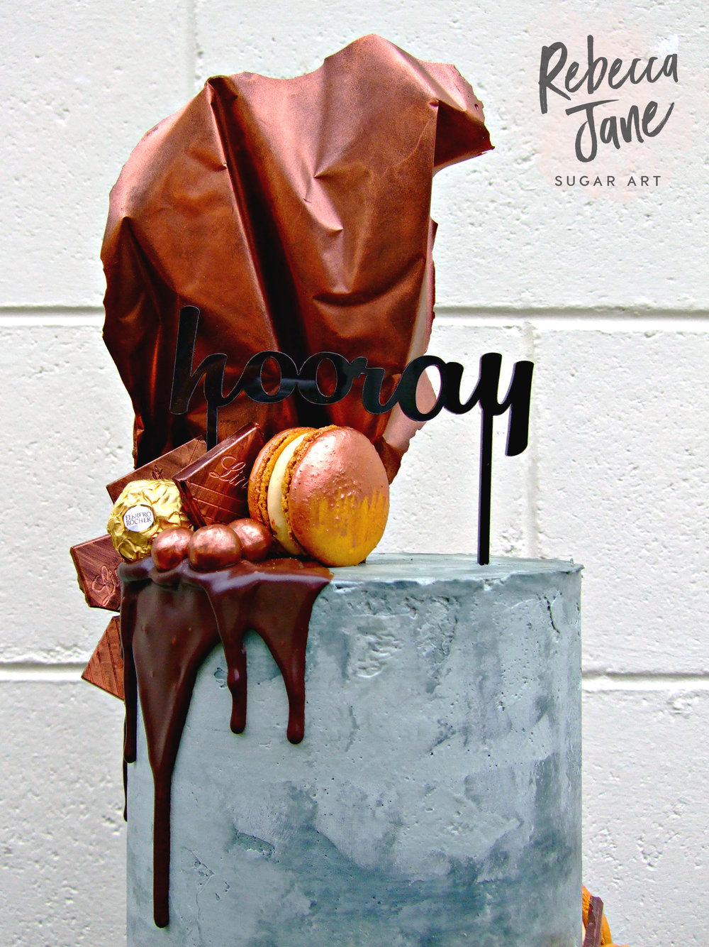 Rebecca Jane Sugar Art - Concrete buttercream drip cake with copper chocolate sail