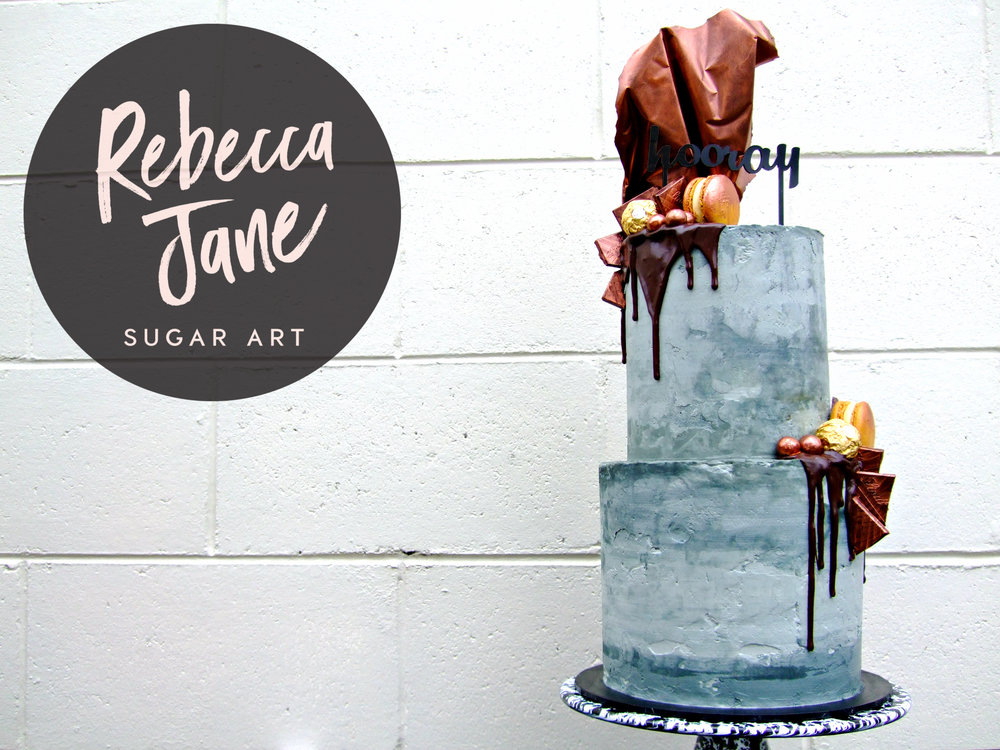 Rebecca Jane Sugar Art - Industrial copper and concrete buttercream drip cake with chocolate sail