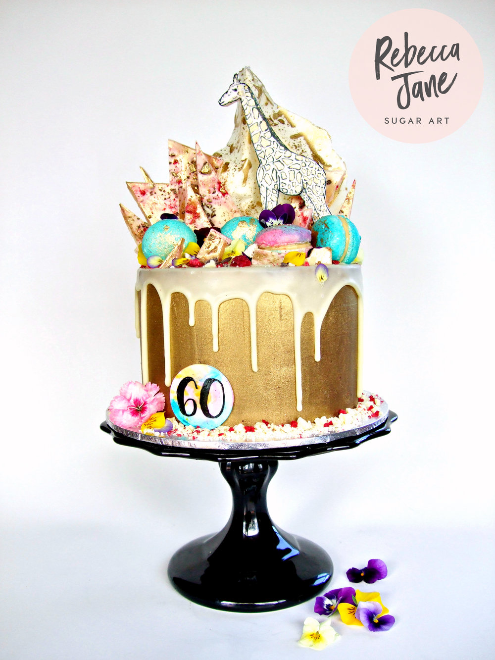 Rebecca Jane Sugar Art - Gold ganache drip cake with handpainted details