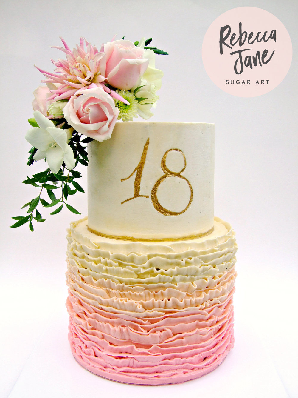 Rebecca Jane Sugar Art - white and pink buttercream floral cake