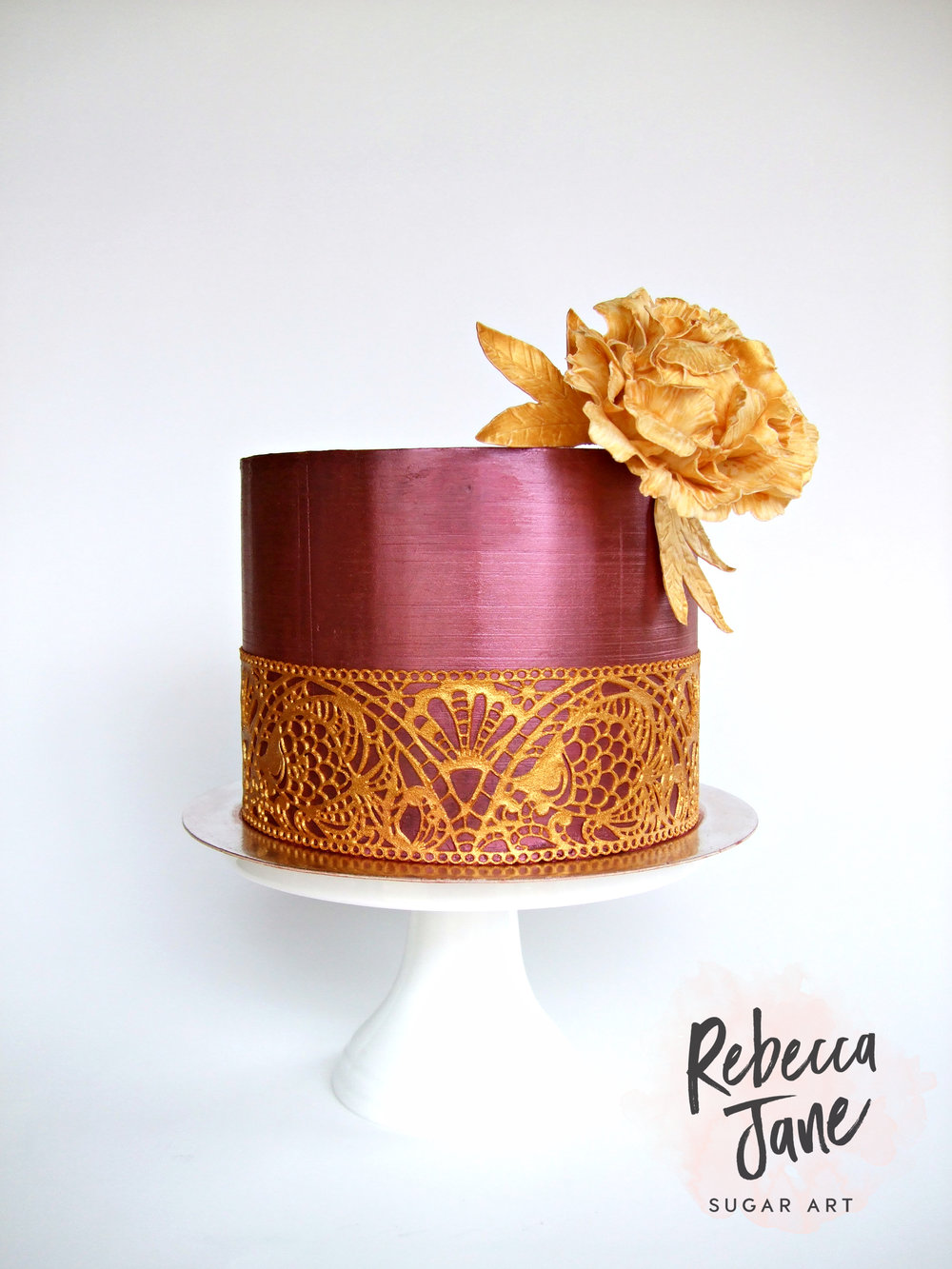 Rebecca Jane Sugar Art - metallic red and gold lace cake with sugar peony