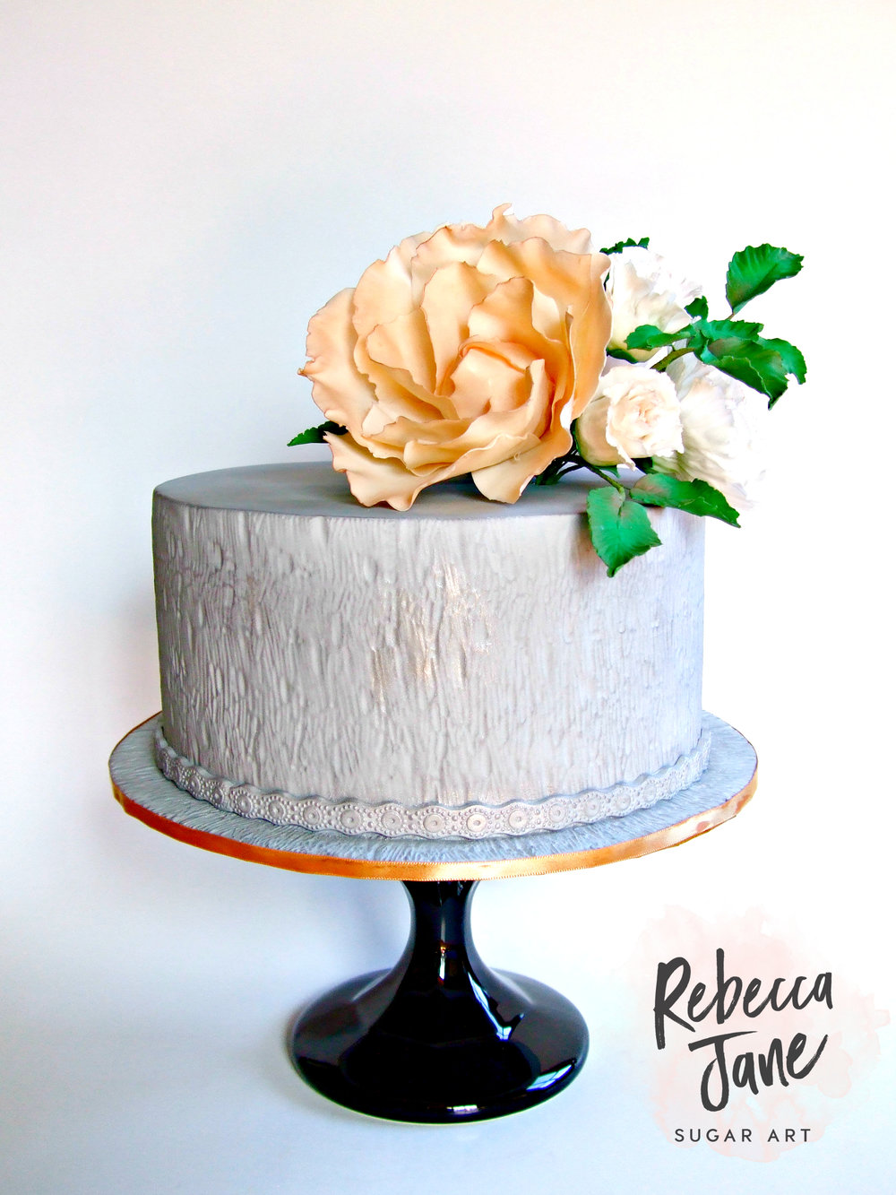 Rebecca Jane Sugar Art - Grey textured cake with sugar flowers