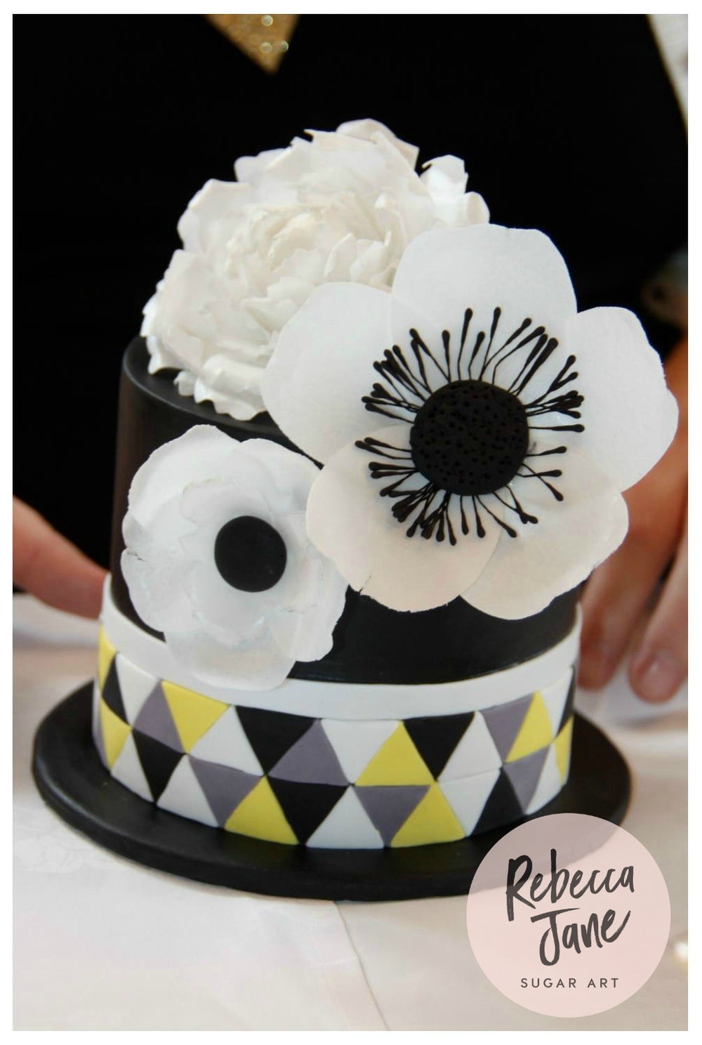 Rebecca Jane Sugar Art - black geometric cake with wafer paper flowers