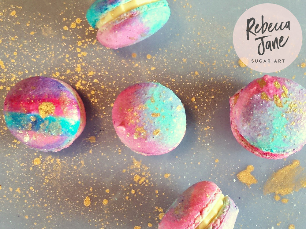 Rebecca Jane Sugar Art - Watercolour gold macarons