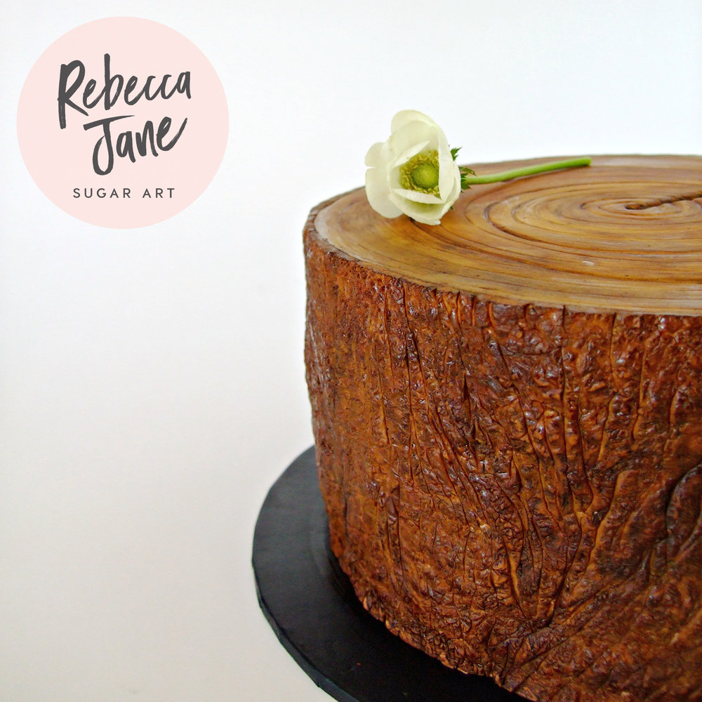Rebecca Jane Sugar Art - tree stump cake