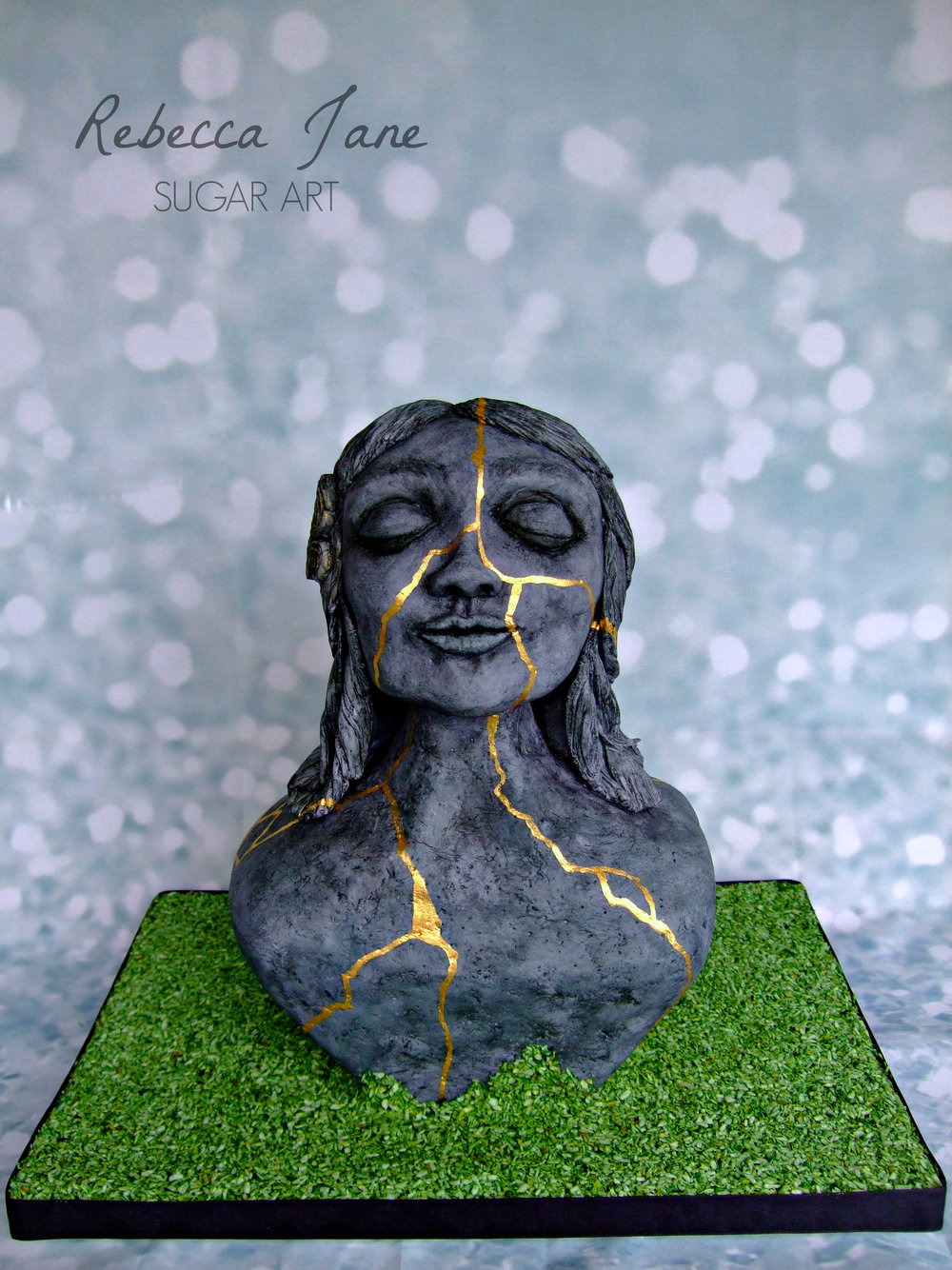 Rebecca Jane Sugar Art - Kintsugi bust stone gold sculpture cake