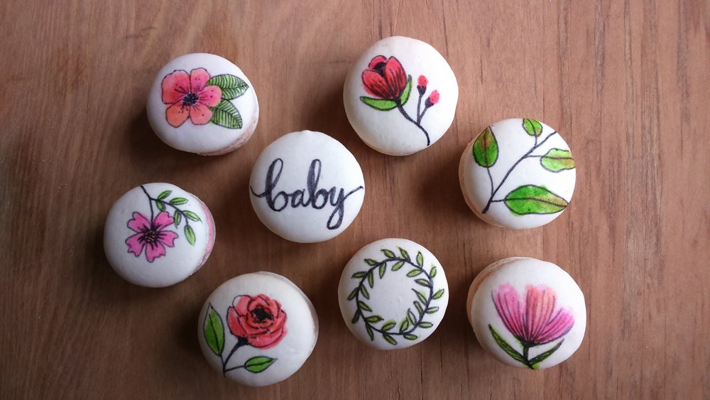 Rebecca Jane Sugar Art - handpainted macarons