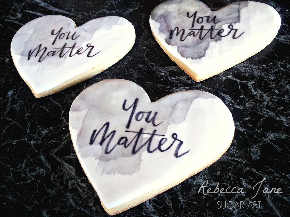 Rebecca Jane Sugar Art - watercolour calligraphy cookies for Depressed Cake Shop