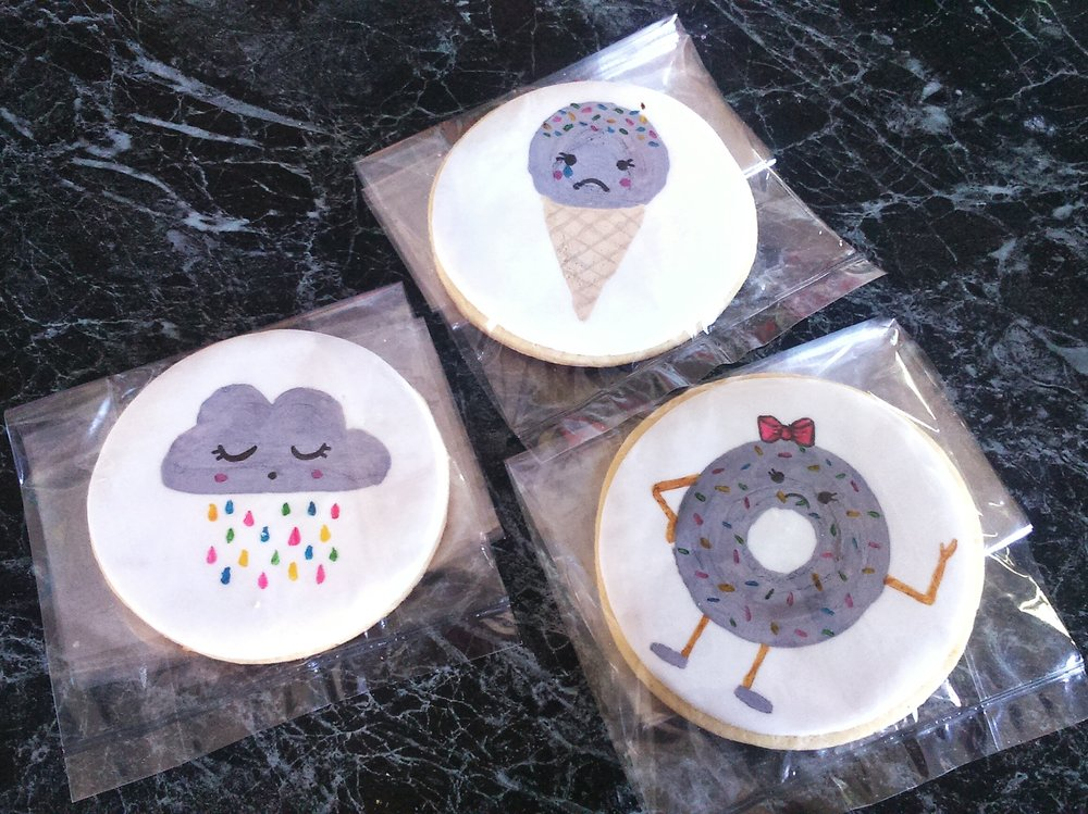 Rebecca Jane Sugar Art - handpainted cookies for Depressed Cake Shop