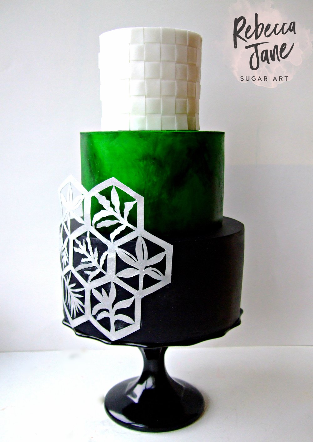 Rebecca Jane Sugar Art - New Zealand Inspired Geometric Wedding Cake with wafer paper and watercolour details