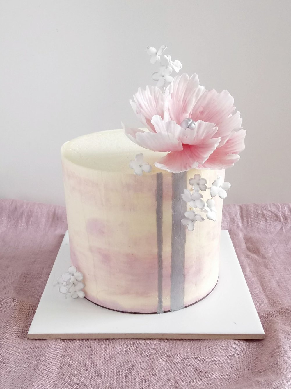 Rebecca Jane Sugar Art - Blush pink watercolour and silver buttercream cake with sugar flowers