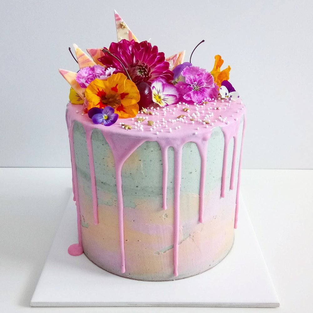 Rebecca Jane Sugar Art - concrete buttercream pink and orange drip cake