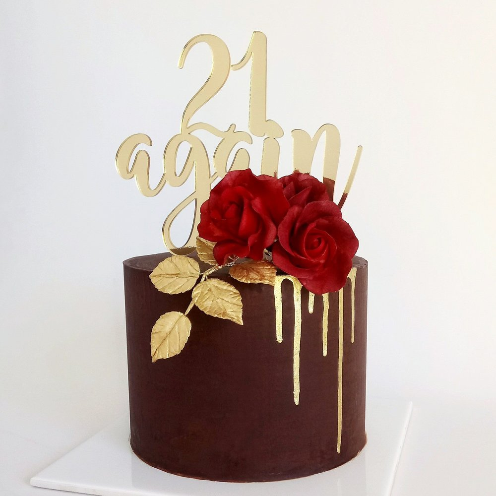 Rebecca Jane Sugar Art - Chocolate ganache, gold and red sugar flowers cake