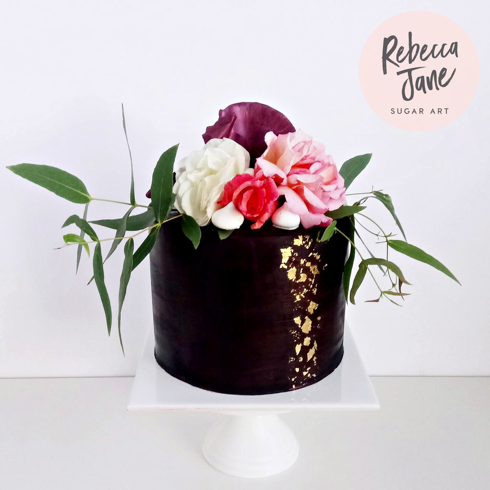 Rebecca Jane Sugar Art - black ganache floral gold leaf cake