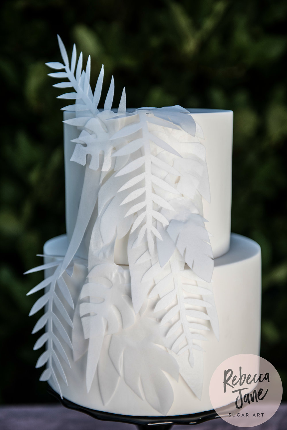 Rebecca Jane Sugar Art - wafer paper foliage white modern wedding cake