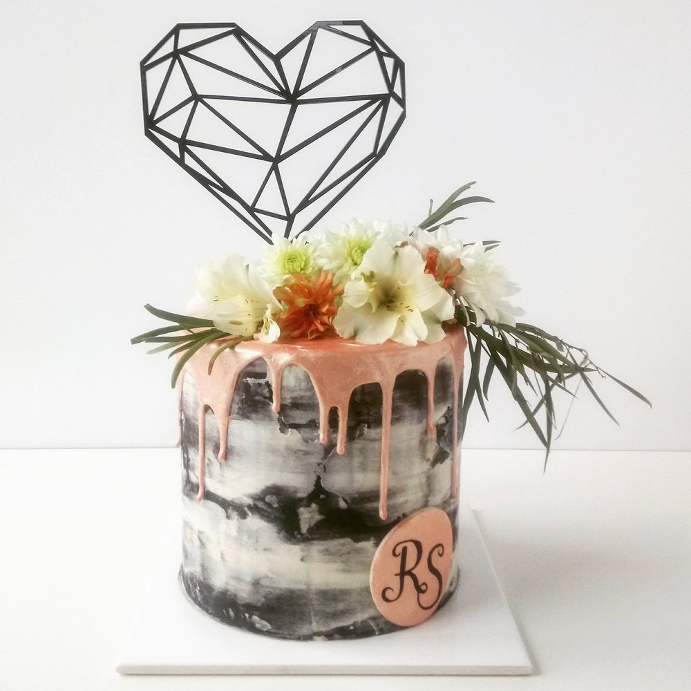 Rebecca Jane Sugar Art - engagement cake geo black white and rose gold drip