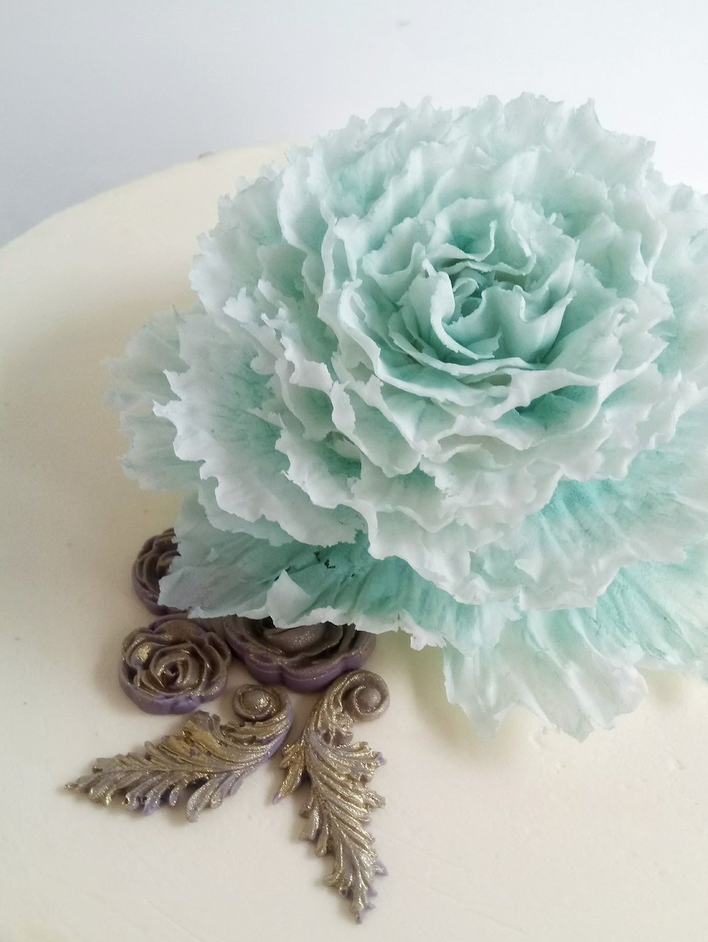 Rebecca Jane Sugar Art - large ruffled blue sugar peony